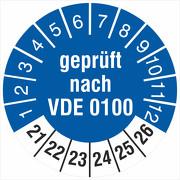Prüfetiketten geprüft nach VDE 0100 2021-2026 18 30 mm Prüfplaketten