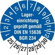 Prüfetiketten Lagereinrichtung geprüft DIN EN 15635 BGR 234 2021-2026