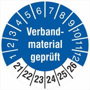 Prüfetiketten Verbandsmaterial geprüft 2021-2026 Prüfplaketten