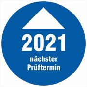 Prüfplakette 2021 mit Pfeil nächster Prüftermin Prüfetiketten 18 30 mm