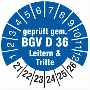 Prüfplakette geprüft gem. BGV D 36 Leitern & Tritte 2021-2026
