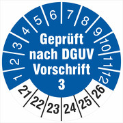 Prüfplakette geprüft nach DGUV Vorschrift 3 18 oder 30 mm 2021-2026