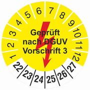 Prüfplakette Geprüft nach DGUV Vorschrift 3 gelb Prüfetiketten 2022