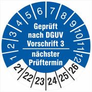 Prüfplakette geprüft nach DGUV Vorschrift 3 nächster Prüftermin 2021