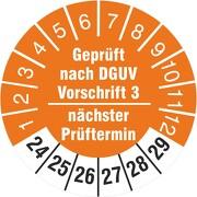 Prüfplakette geprüft nach DGUV Vorschrift 3 nächster Prüftermin 2020-2025