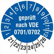 Prüfplakette Geprüft nach VDE 0701/0702 18 oder 30 mm 2021 bis 2026