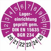 Prüfetiketten Lagereinrichtung geprüft DIN EN 15635 BGR 234 2020-2025