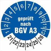 Prüfplaketten geprüft nach BGV A3 Prüfetiketten 18 oder 30 mm 2021-26