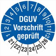 Prüfplaketten Geprüft nach DGUV 2021-2026 Prüfetiketten 18 oder 30 mm