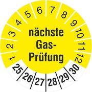 Prüfplaketten nächste Gasprüfung 18 und 30 mm Prüfetiketten 2021-26