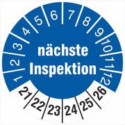 Prüfplaketten nächste Inspektion 18 oder 30 mm Prüfetiketten 2021-26