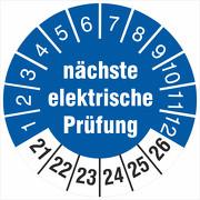 Prüfplaketten Prüfetiketten nächste elektrische Prüfung 2021-2026