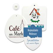Saugnapfschild mit Ihrem Motiv Logo bedruckt Saugnapf Schild 3 Formen