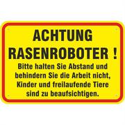 Schild Achtung Rasenroboter 3mm Aluverbund 3 Größen