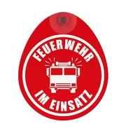 Schild Feuerwehr im Einsatz mit Saugnapf Saugnapfschild GREEN