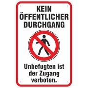 Schild Hinweisschild kein öffentlicher Durchgang mit Symbol 3 mm Alu