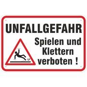 Schild Hinweisschild Unfallgefahr Spielen verboten mit Symbol 3 mm Alu