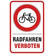 Schild oder Aufkleber Radfahren verboten 3 Größen