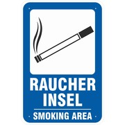Schild Raucherinsel Smoking Area Raucherplatz 3 mm Aluverbund
