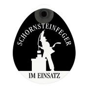 Schild Schornsteinfeger im Einsatz mit Saugnapf Saugnapfschild GREEN