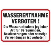 Schild Wasserentnahme verboten 3mm Aluverbund 3 Größen