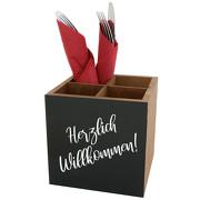 Tischaufsteller DUNDEE mit Kreidetafel Besteck Halter Menage Holz