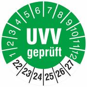 Prüfetiketten UVV geprüft Prüfplaketten 18 oder 30 mm rund 2022-2027
