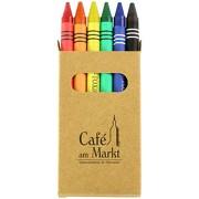 Wachsmalstifte 6-teilig Stifte in Öko-Box für Kinder mit 1-farbigem Druck