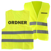 Warnweste ORDNER Sicherheitsweste mit Druck auf Rücken und Brust