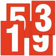 Zahlen weiß auf rot 80 mm hoch wetterfest als Aufkleber Klebezahlen Regalbeschriftung