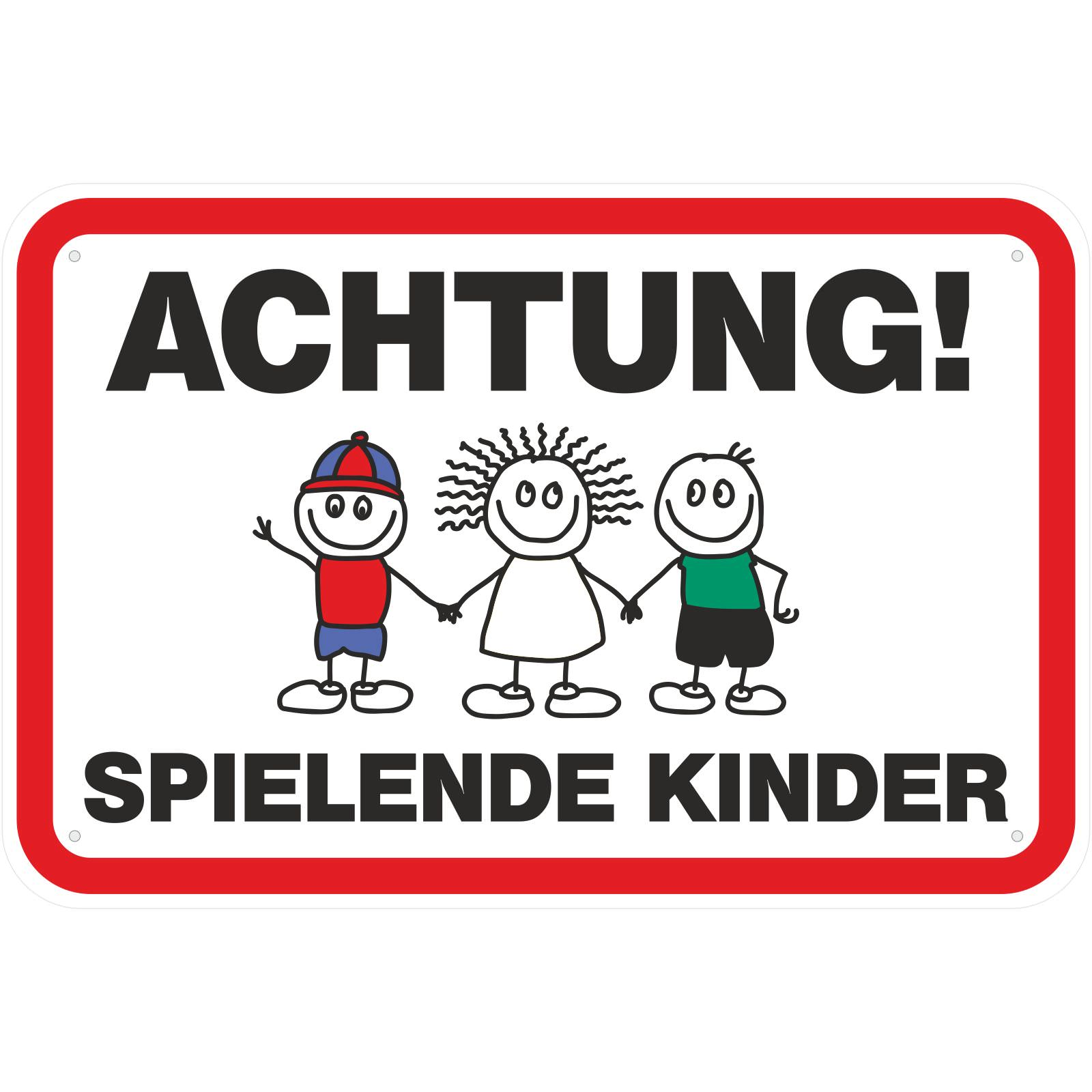 schild achtung spielende kinder 3 mm aluverbund. Black Bedroom Furniture Sets. Home Design Ideas