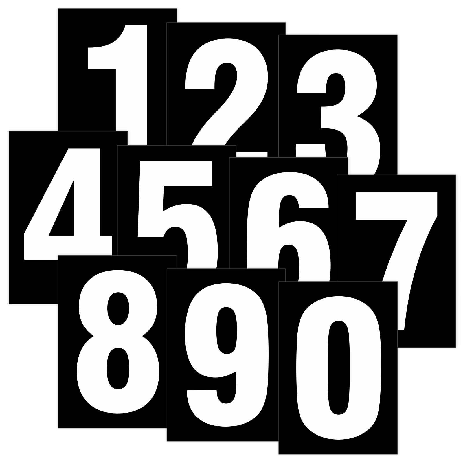 zahlen wei auf schwarz wetterfest als aufkleber klebezahlen regalbeschriftung 80 mm. Black Bedroom Furniture Sets. Home Design Ideas
