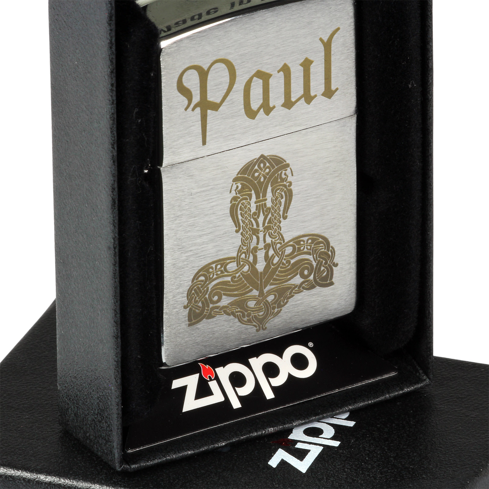 zippo feuerzeug brush chrom mit individueller gravur lasergravur. Black Bedroom Furniture Sets. Home Design Ideas