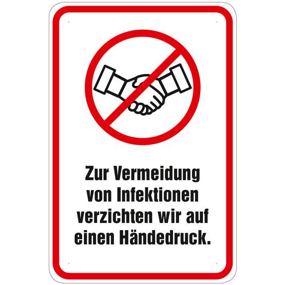 Schild Infektionsgefahr Hände geben schütteln nicht erwünscht Alu