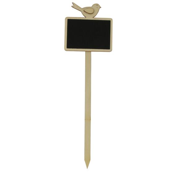 Mini Kreidetafel Holz mit Vogel beschreibbar zum einstecken