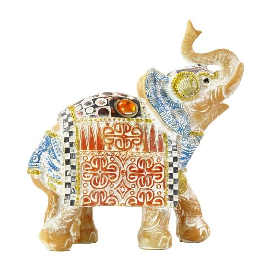 Thailändischer Elefant Viel Glück Terrakotta und blauer Himmel 14 cm
