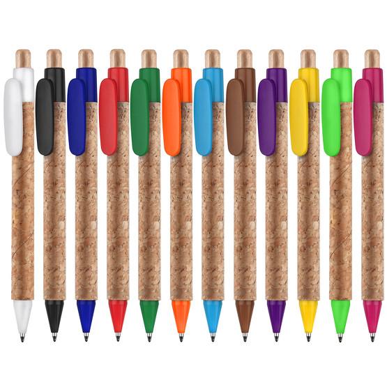 Kork Kugelschreiber KORTE mit Druck Werbung auf Clip bedrucken