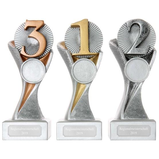 Pokal Zahl Platz 1 2 3 mit Gravur und Emblem Ihrer Wahl Serie METZ