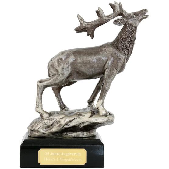 Trophäe Hirsch Pokal Wild Jagd 18 cm hoch mit Gravur