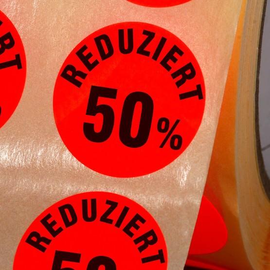 Etiketten Reduziert 50% Haftpapier 30mm rund leuchtend rot Sonderpreis
