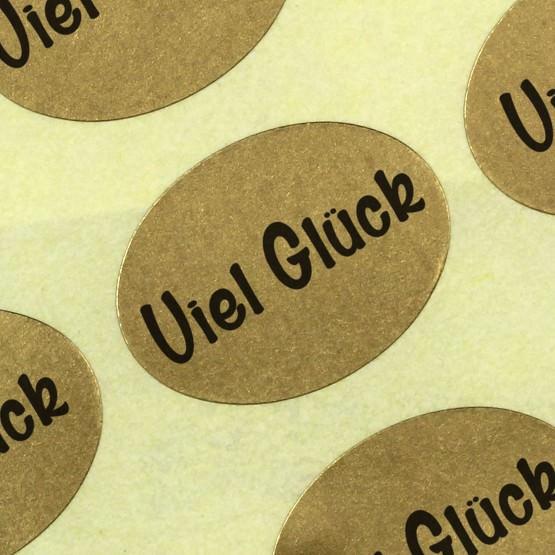 Etiketten Aufkleber Viel Glück gold Sticker Blumen 25x18 mm Haftpapier