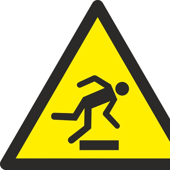 Aufkleber oder Schild Warnung vor Hindernissen am Boden W007