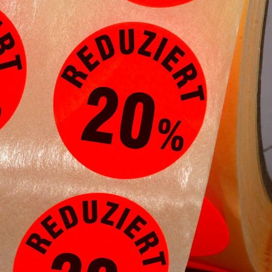 Etiketten Reduziert 20% Haftpapier 30 mm rund leuchtend rot