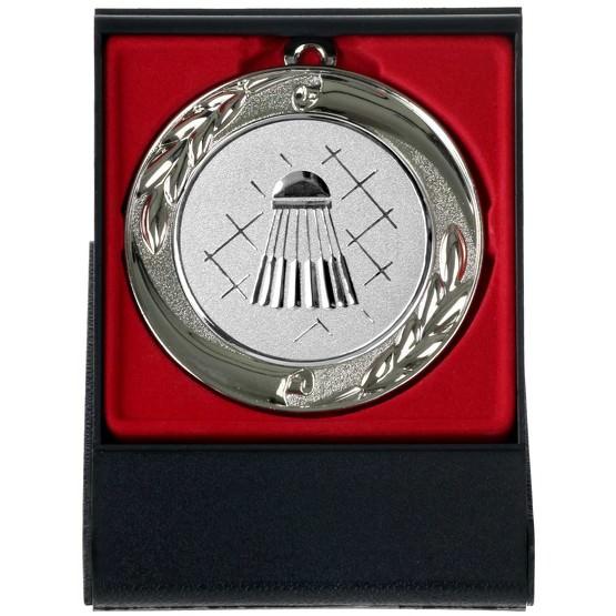 Badminton Federball Medaille gold silber bronze oder im Set 70mm mit Etui als Aufsteller