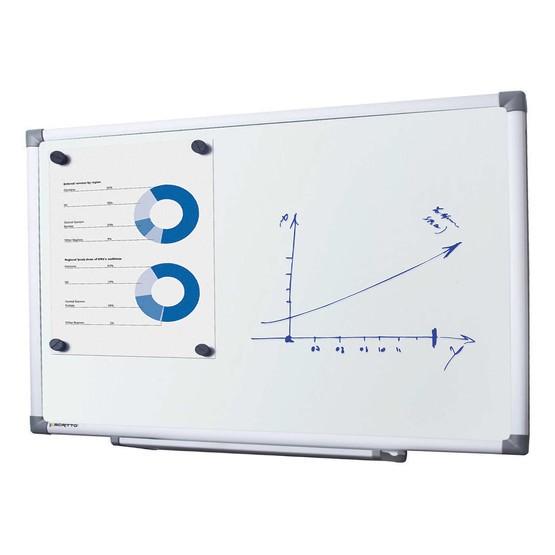 Whiteboard mit schutzlackierter Stahloberfläche magnethaftend beschreibbar mit Stiftablage