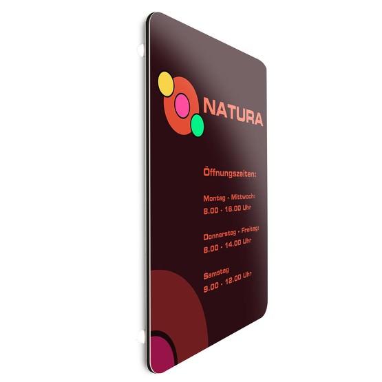 Werbeschild 50 x 70 cm 3mm Aluverbund runde Ecken von Ihrer Datei gedruckt