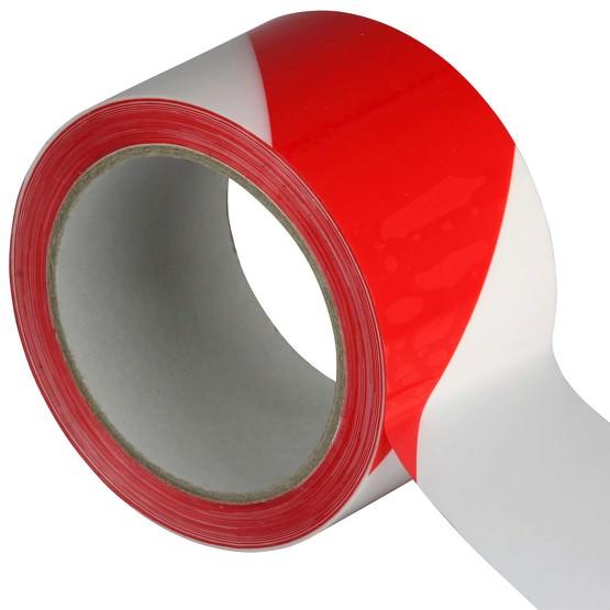 Extra breit und extra lang: Absperr- Klebeband Warnband für Gefahrenbereiche 50 mm x 66 m rot weiß