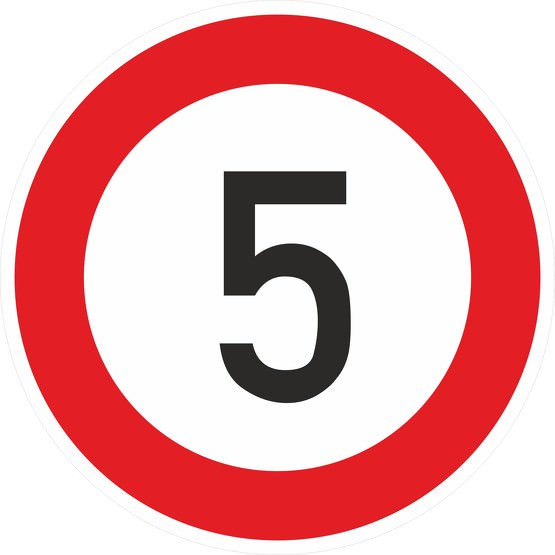 Schild Aufkleber Zulässige Höchstgeschwindigkeit 5 km/h (STVO Zeichen 274-50) RA1