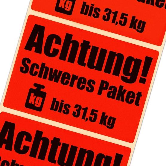 Etiketten Achtung schweres Paket bis 31,5 kg leuchtend rot Haftpapier 105 x 72 mm