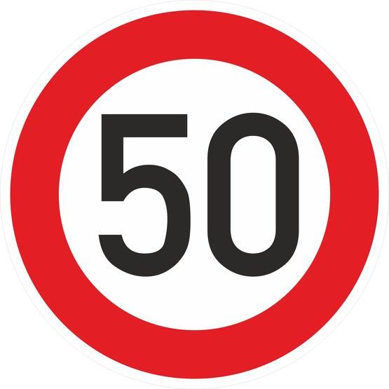 Schild Aufkleber Zulässige Höchstgeschwindigkeit 50 Kmh